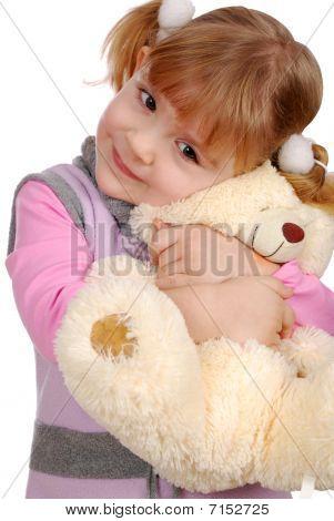 beauty little girl with teddy-bear