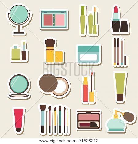 Set of beauty and cosmetics colorful icons