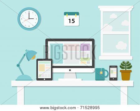 Flat Design Illustration Of Modern Office