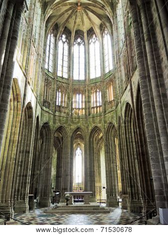 Nave Of Church In Abbey Mont Saint Michel