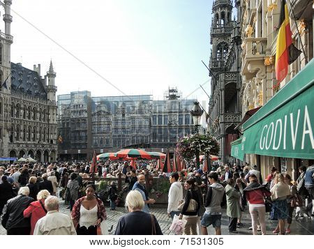 Crowds Of People On Grand Place In City Of Brussel