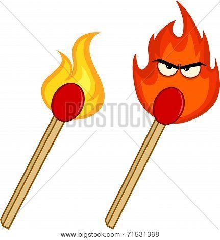 Burning Match Sticks . Collection Set