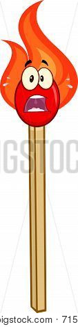 Scared Burning Match Stick Cartoon Character
