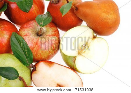 gold pear with green and red apple with half isolated over white background