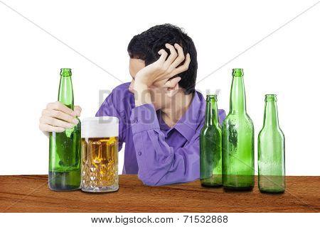 Drunk Man Overdrink Beer