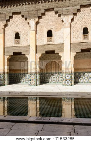 The Ben Youssef Madrasa which is visited by tourists from world on 24 August 2014 in Marrakesh, Morocco. The Ben Youssef Madrasa was an Islamic college.