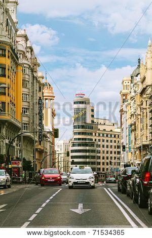 Gran Via Street In Madrid, Spain