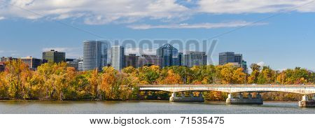 Washington DC - An Autumn view of Rosslyn through Potomac River