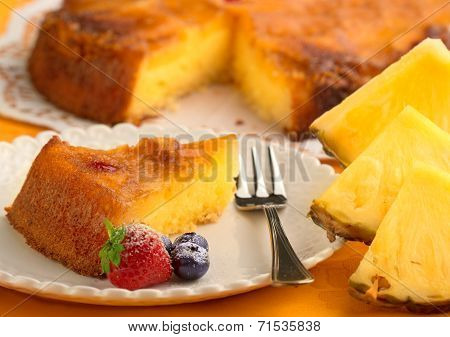 cake and fresh pineapple