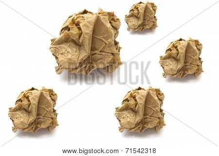 Papers Crumple Ball On White Background