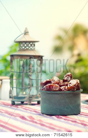 Ramadan Lamp and dates fruit still life