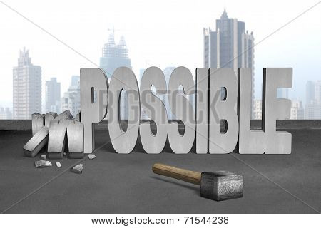 Smashed Impossible 3D Concrete Word With Sledgehammer