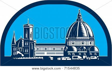 Dome Of Florence Cathedral Retro Woodcut
