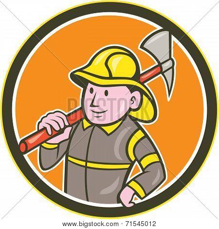 Fireman Firefighter Axe Circle Cartoon