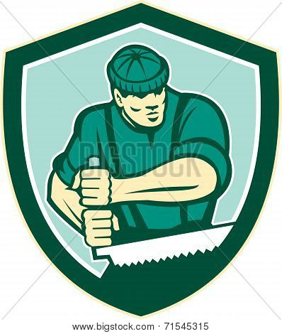 Lumberjack Crosscut Saw Shield Retro