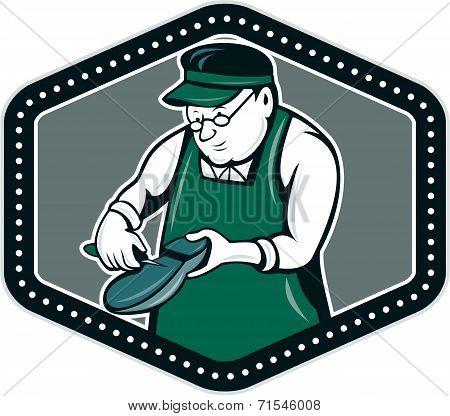 Shoemaker Cobbler Shield Cartoon