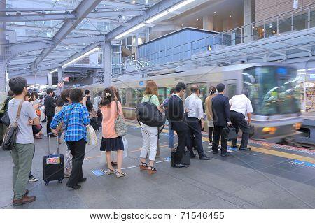 Commuters at JR Osaka Train station Japan