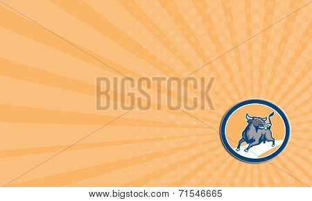Business Card Raging Bull Attacking Charging Circle Retro