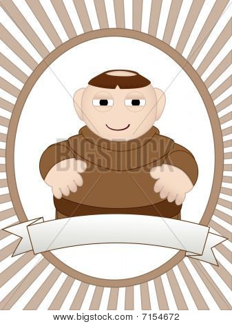 Cartoon monk in ad friendly setting vector
