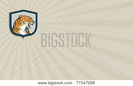 Business Card Angry Tiger Head Sitting Growling Shield Retro