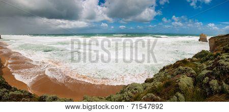 Bay near the Twelve Apostles, natural landmark near the Great Ocean Road. Victoria, Australia. Panoramic photo