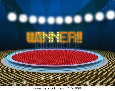 Winner sign on a tv show set
