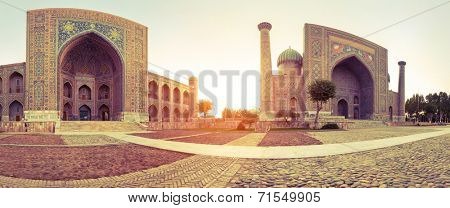 Panorama of Registan square in the city of Samarkand, Ubekistan