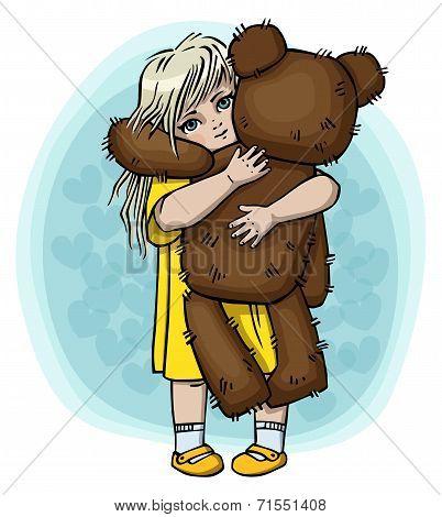 Little blond girl with teddy bear