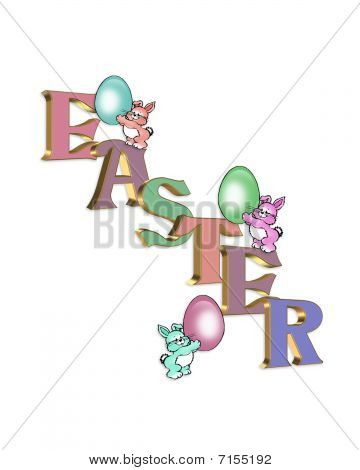 Easter bunnies and 3D text