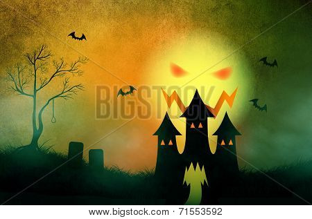 Halloween Background With Haunting Castle In Misty Graveyard