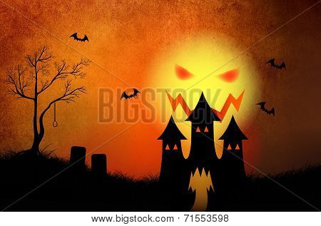 Halloween background with haunting castle in red burning sky