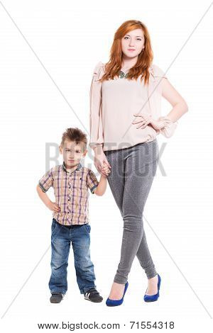 Young Redhead Woman Posing With Her Little Son