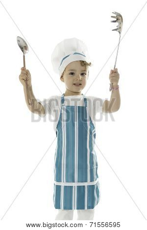Little Chef With Kitchen Tools