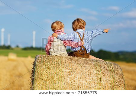 Two Little Twin Boys And Friends Sitting On Hay Stack