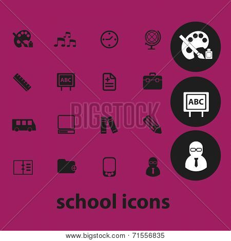 school, education icons, illustrations, signs, silhouettes set, vector
