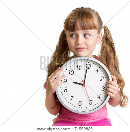 Kid displaying nine o'clock time in studio isolated