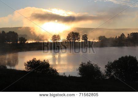 Foggy morning. Zelenogorsk, Krasnoyarsk Territory