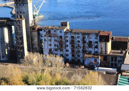 Abandoned building on the banks of the Yenisei in Krasnoyarsk