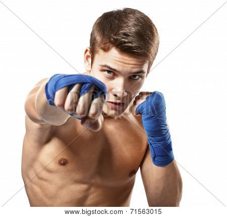 Young Male Boxer Punched