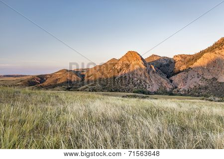 sunset in mountains - Eagle Nest Rock and prairie in northern Colorado near Fort Collins