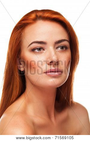 Redhead Beauty Isolated On White Background