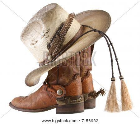 Cowboy Boots, Spurs & Hat