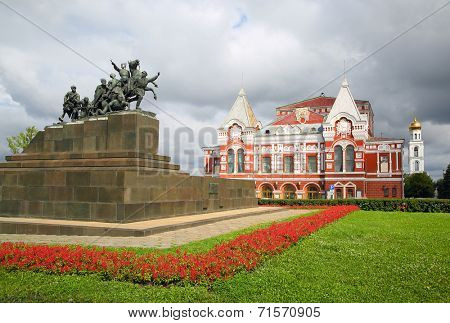 Chapaev monument and drama theater in Samara