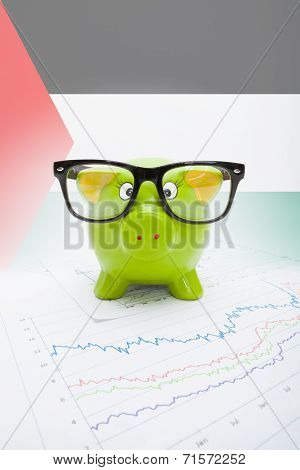 Piggy Bank With Flag On Background - Palestine