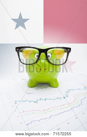 Piggy Bank With Flag On Background - Panama
