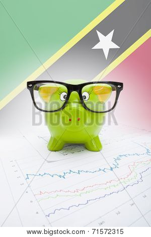 Piggy Bank With Flag On Background - Staint Kitts And Nevis