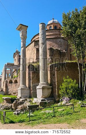 The Temple Of Romulus (the Basilica Of Santi Cosma E Damiano), Roman Forum, Rome, Italy