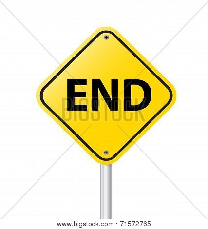 End Warning Sign Isolated On White Vector Illustration