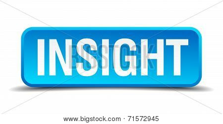 Insight Blue 3D Realistic Square Isolated Button