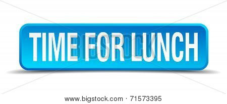 Time For Lunch Blue 3D Realistic Square Isolated Button